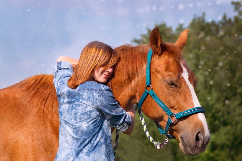 Frau umarmt Pferdehals