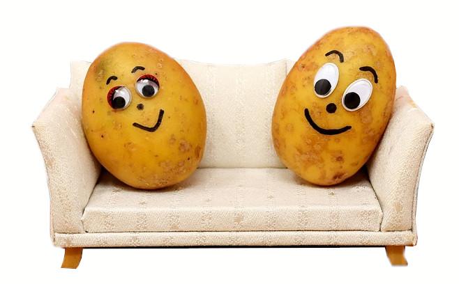 Zwei Kartoffeln auf einer Couch
