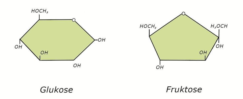 die-heilbar.Glukose- und Fruktose Strukturformeln